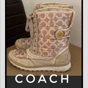 Authentic Coach signature lace up winter boots 10